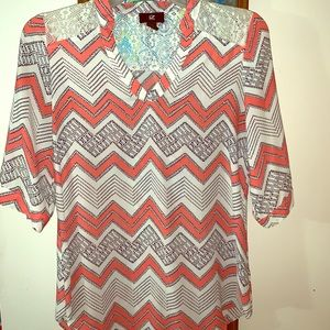 Coral, cream and lace sheer work blouse